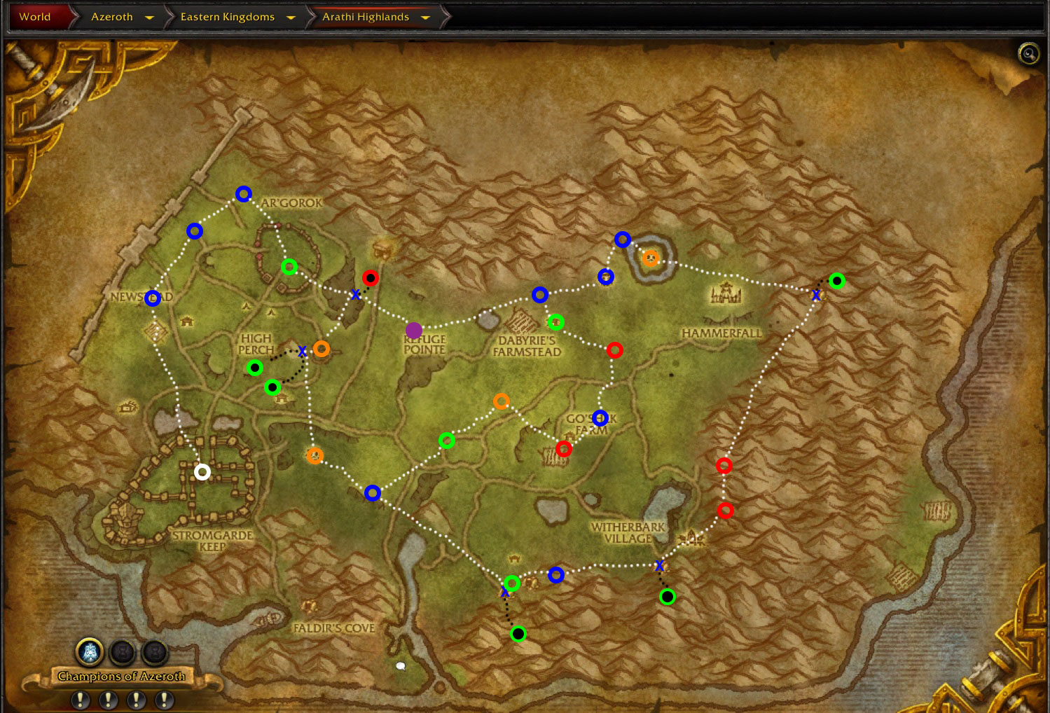 wow-arathi-highlands-efficient--rare-run-map
